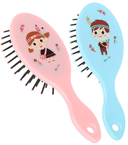 com-four® 2X Haarbürste für Kinder - Bürste in rosa und blau mit Indianer Motiv - Kinderbürste für Mädchen und Jungen (Haarbürste - 02-teilig)