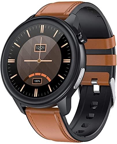 Smart Watch Business 1 pantalla a color de 3 pulgadas Ip68 información impermeable recordatorio de llamada pulsera multi-deporte lujo lujo rojo/marrón piel