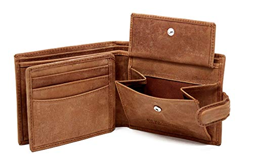STARHIDE Mens RFID Blocking Distressed Hunter Leather Trifold Coin Pocket Wallet Brown Gift Boxed 1212