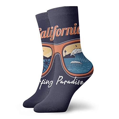 Hunter Qiang Calcetines para hombre y mujer, para verano, gafas de sol, reflectantes, Ocean Wave, Sea, playa, surf, paraíso, 30 cm