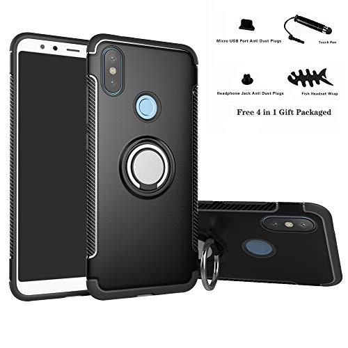 Labanema Redmi Note 6 Pro Funda, 360 Rotating Ring Grip Stand Holder Capa TPU + PC Shockproof Anti-rasguños teléfono Caso protección Cáscara Cover para Xiaomi Redmi Note 6 Pro - Negro