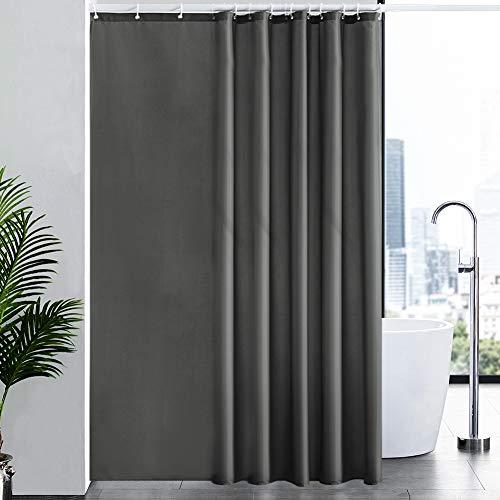 New Power Überlänge Badvorhang Badwannenvorhang für Badezimmer, Duschvorhang aus Stoff Textil Waschbar Wasserabreisend Anti-schimmel, mit 12 Ringe Dunkelgrau Extra Groß 200x240.