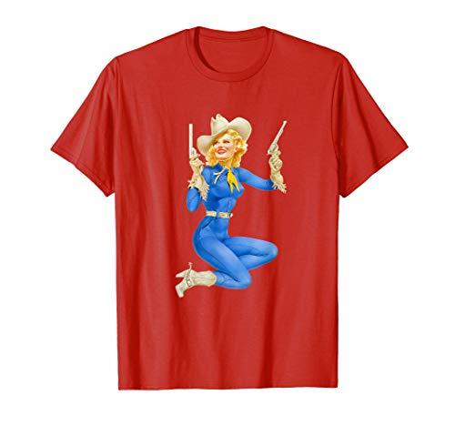 Pin Up Girl Vaquera Retro Vintage Cute Camiseta