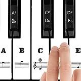 Pegatinas para Teclado o Piano Para 37/49/54/61/88 Teclas, Facilita Aprendizaje de Piano, Reemplazo Pegatinas Teclado de Piano Pegatina de Notas para Niños Principiantes, En blanco y negro