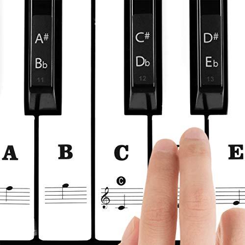 Klavier Aufkleber für 37/49/54/61/88 Weiße und Schwarze Tasten, Transparentes Dünneres Noten-Aufkleber mit größere Buchstaben, Einfache Anleitung für Kinder, Klavier Anfänger und Veteranen