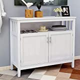 Kitchen Storage Sideboard, Dining Buffet Server Cupboard Cabinet, Console Table with Adjustable Middle Shelf for Home, Dining Room (White)