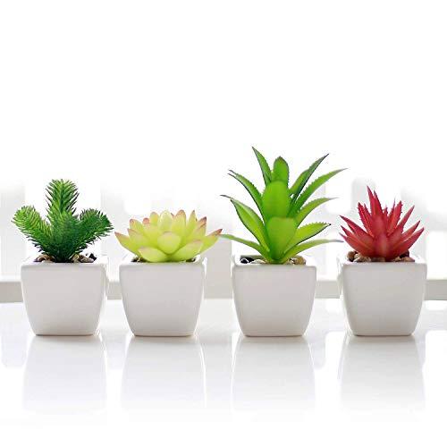 いい生活 4点セット 光触媒 人工多肉植物 ミニ 植物鉢植え 枯れない 白い正方形の植木鉢 観葉植物 室内 ホーム 庭 装饰 デコレーション (セラミックの植木鉢 A)