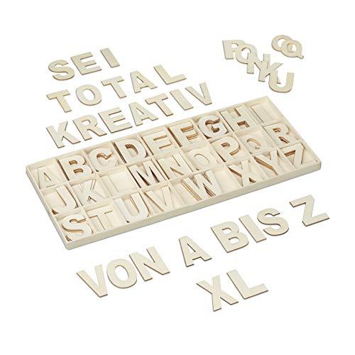 Relaxdays Holzbuchstaben Set, 104 TLG, Großbuchstaben A-Z, 5,5 cm hoch, XL Buchstaben zum Basteln, Deko Alphabet, Natur
