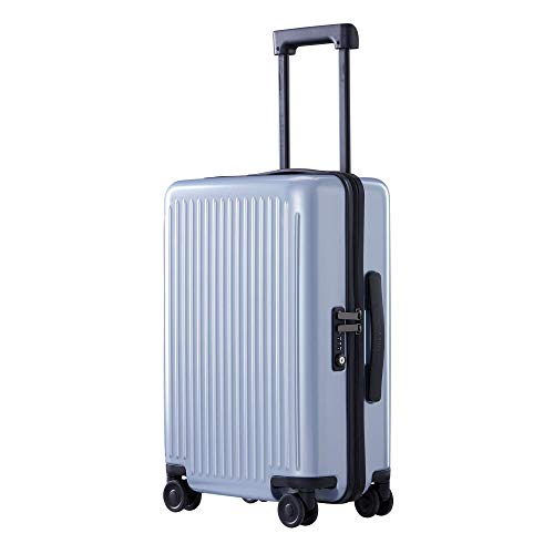 NINETYGO Hardside Luggage with Spinner Wheels, 100% Polycarbonate Geometric Suitcase with TSA Lock for Travel, Large Capacity & Stylish Sleek Design (24-inch Checked-Medium Blue)
