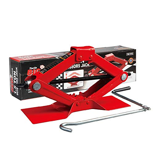 Torin Big Red Steel Scissor Jack, 1.5 Ton (3,000 lb) Capacity
