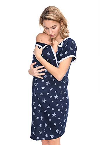 MijaCulture 3 en 1 Maternité Robe Chemise/Maternité Allaitement Coton Robe de Nuit pour accoucher 4123 (EU40 / L, Bleu Marine/étoiles)