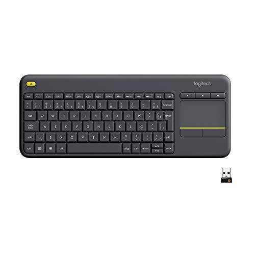 Teclado sem fio Logitech K400 Plus TV com Touchpad Integrado, Conexão USB Unifying e Layout ABNT2