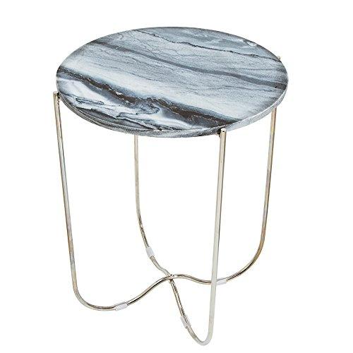 Exclusieve bijzettafel Noble III grijs echte marmer hoogwaardig afgewerkt tafel salontafel