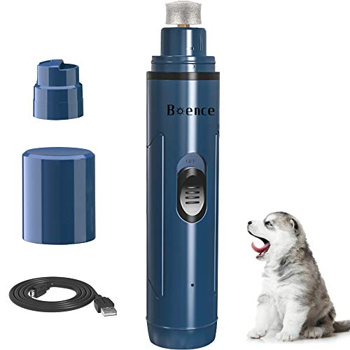Boence Dog Nail Grinder, Upgraded 2-Speed Electric Pet Nail Trimmer Clippers Painless, Quiet Rechargeable Grooming & Smoothing Claw Care for Small Medium Large Dog/Cat/Bird(Blue)