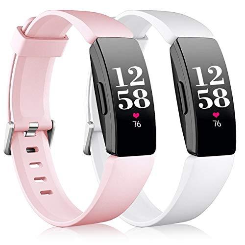 Vobafe 2 Pezzi Compatibile con Fitbit Inspire Cinturini/Inspire HR Cinturino, Cinturini di Ricambio in Silicone Sport Compatibile con Fitbit Inspire/Inspire HR/Inspire 2/Ace 2 S Rosa/Bianco