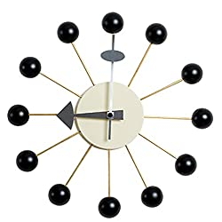 Emorden Furniture Classic Wall Clock Antique Retro George Nelson Ball Clock in Black, Atomic Wooden Wall Clock Mid Century Handmade Antique Retro Nelson Style