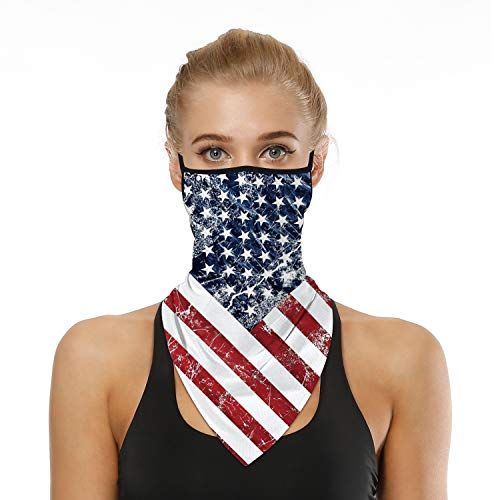 SRVOKOX Red Blue White American Flag Bandana Neck Gaiter Face Mask Covering Bandanas for Men Women Summer UV Cooling Face Scarf Mask Cover Ear Loop Hole Triangle Facemask Headwear for Fishing