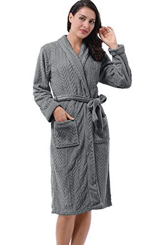 Women's Fleece Long Bathrobe Herringbone Texture Soft Spa Hotel Plush Robe Grey