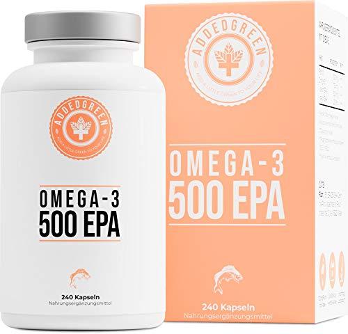 Omega-3 mit 500mg EPA & 250mg DHA pro Kapsel als Großpackung mit 240 hochdosierte Kapseln, Sporternährung: 1000mg reines Fischöl von ADDEDGREEN
