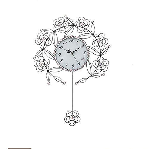 Reloj de pared Reloj de pared reloj de pared simple reloj creativo reloj de cuarzo reloj de pared oscilante de hierro forjado sala de estar reloj de pared de metal moderno 69 cm * 48 cm (color:negro)
