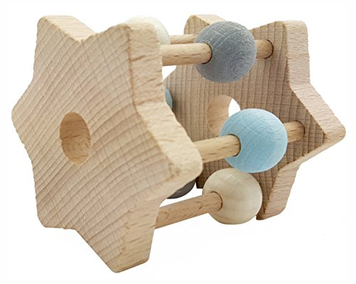 Hess-Spielzeug- Hochet étoile en Bois, 11002, Bleu