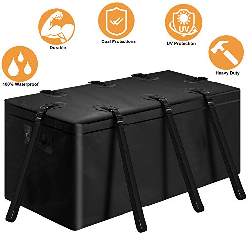 """SUNER POWER Waterproof Hitch Cargo Carrier-Heavy Duty Tray Luggage Storage Bag with 8 Reinforced Straps+ 2 Handles- Perfect for Car, SUV, Van, Truck Basket Trailer - 20 Cubic Feet (60""""x24""""x24"""")"""