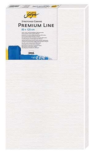 Kreul 5080120 - Solo Goya Stretched Canvas Premium Line, Keilrahmen 80 x 120 cm in Premiumqualität, Leinwand aus Baumwolle 4 fach grundiert, ideal für Öl-, Acryl- und Gouachefarben