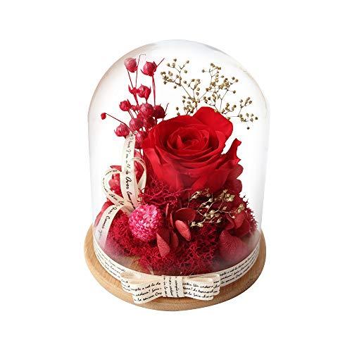 Rosa Eterna, AOKKR Flores Preservadas Hechas a Mano, Rosa Eterna con Caja de Regalo en cúpula de Vidrio con Una Cinta y Una Tarjeta de Deseos Regalo para Mujer de Aniversario Regalos para Madres Roja
