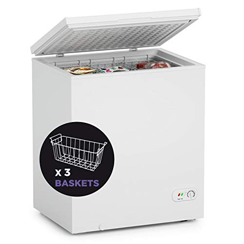 Northair Chest Freezer - 5 Cu Ft with 3 Removable Baskets - Reach In Freezer Chest - Quiet Compact Freezer - 7 Temperature Settings - White