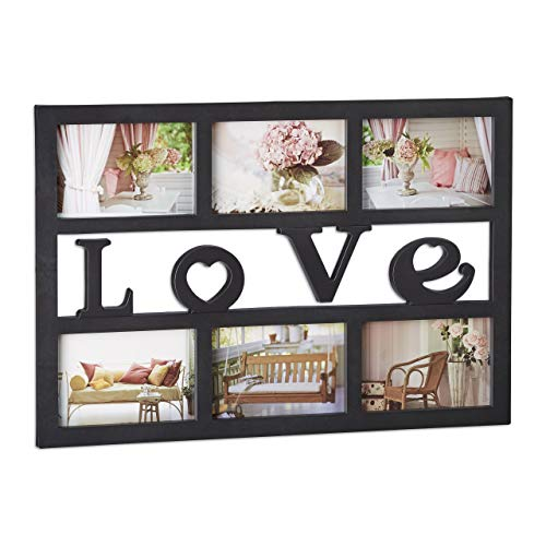 Relaxdays Picture Frame Love Collage for Up to 6 Photos, 1.5 x...