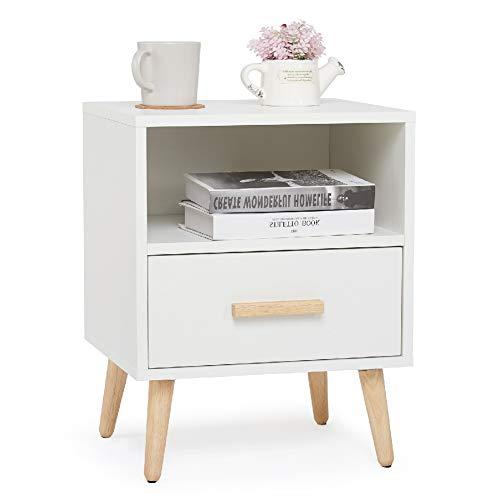 Meerveil Nachttisch, Nachtschrank mit 1 Schublade und 1 Offenem Fach, 40x30x51cm Holz Modern Nachtkommode mit Massivholzfüßen, Weiß Beistelltisch für Schlafzimmer Wohnzimmer