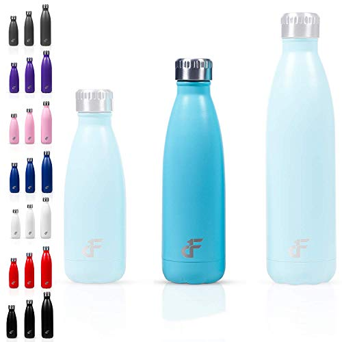 Day 1 Fitness 17 oz. Double Wall 18/8 SS Narrow Screw Cap Water Bottle Teal