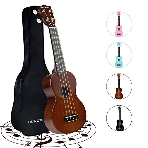 HUAWIND 21 Inch Soprano Ukulele for Beginners, Kid Guitar Four String Wood Children Ukulele with Gig Bag (Brown)