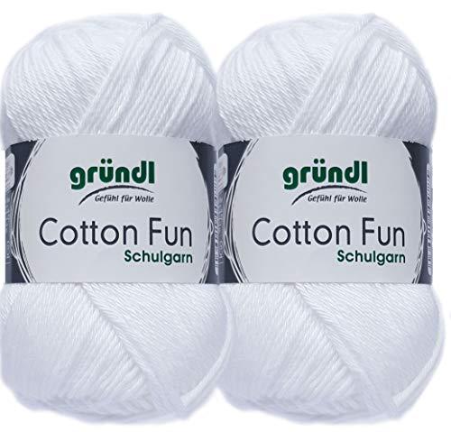 2x50 Gramm Gründl Cotton Fun Häkelgarn Schulgarn aus 100% Baumwolle + 1 Anleitung für EIN Meerschwein (01 Weiss)