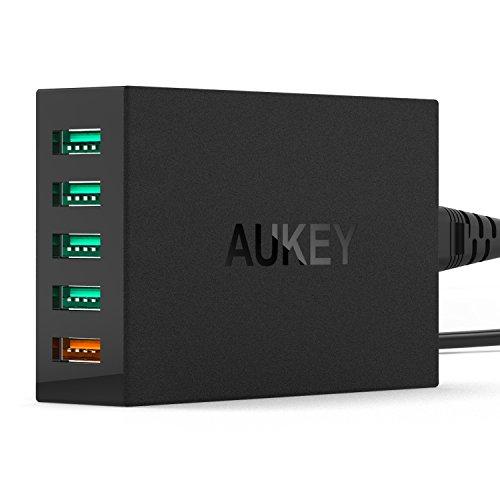 AUKEY Quick Charge 2.0 USB Ladegerät 54W 5 Ports, 4 Ports mit AiPower & 1 Port mit Quick Charge 2.0 für HTC, iPhone 7 / 6s und andere Geräte