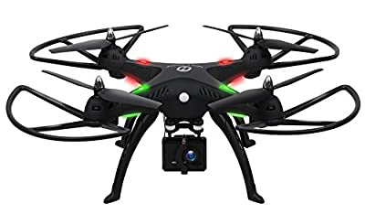 1080P Camera Drone,Holy Stone HS300 RC Quadcopter with 120° Wide-angle HD Camera 6-Axis gyro 2.4 GHz with Altitude hold, One Key Return and Headless Mode Function RTF Includes Bonus Battery by Holy Stone