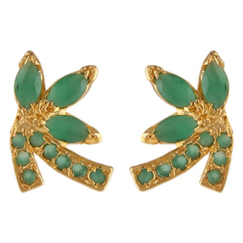 Hikaro Indian Bollywood Designer 18 k Gold Plated Traditional CZ Stud Earrings Jewelry for Women and Girls, Green