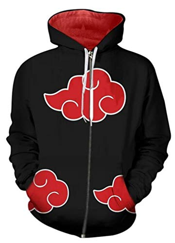 AMOMA Unisex Anime Naruto My Hero Academia Demon Slayer Zip Hoodie Reißverschluss Kapuzenpullover Sweatshirt für Herren Damen(XX-Large,Akatsuki RedCloud)