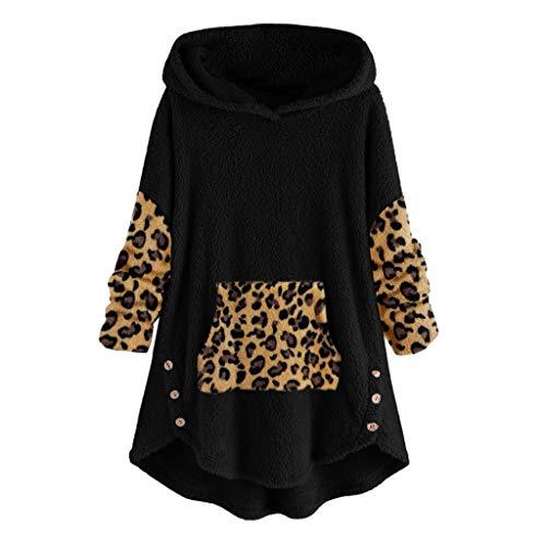 ღJiaMeng Leopard Nähen Gesticktes Plüsch Sweatshirt Mode Bequem Casual Hoodie Damen Katzenohr Drucken Kapuzenpullover Herbst Winter Lange Sweatjacke