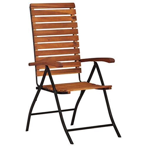 Festnight- 2er Set Klappstühle aus Akazienholz und Stahlrahmen | Holz Klappbare Essstühle Gartenstühle Klappsessel Garten-Liegestühle | für den Innen- und Au?enbereich
