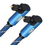 Cable de Audio óptico de ángulo Recto Doble de 90 Grados Cable Toslink Cable de fibra óptica de Audio Digital Trenzado de Nailon para barra de sonido, TV, DVD, Altavoz, Azul (1 m)