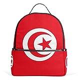 Sac à Dos en Toile pour Ordinateur Portable Motif Drapeau de la Tunisie