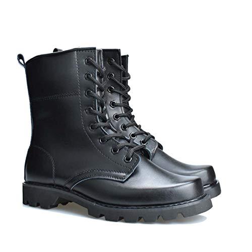 Botas De Combate De Punta De Acero Negro Hombres Mujeres Militares Botas Tácticas Impermeables Cuero Ligero Pistas De Caza Botas De Trabajo Del Ejército No Velvet-43
