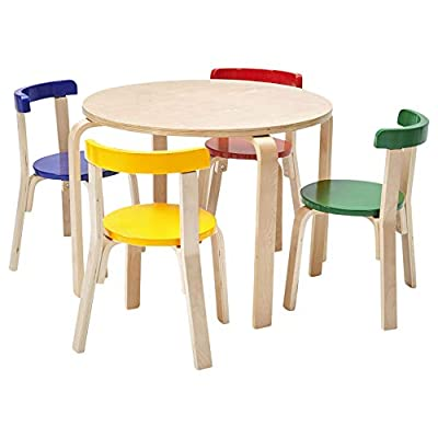 ECR4Kids Bentwood Curved Back Table and Chair Set,Premium Kids Wooden Furniture for Homes, Daycares and Classrooms, Assorted from ECR4Kids