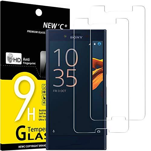 NEW'C 2 Unidades, Protector de Pantalla para Sony Xperia X Compact, Antiarañazos, Antihuellas, Sin Burbujas, Dureza 9H, 0.33 mm Ultra Transparente, Vidrio Templado Ultra Resistente