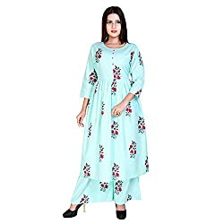 Marlin Womens Cotton Kurti With Palazzo Pant Set Kurti Palazzo set for women kurti palazzo set Beige Colour Kurti Palazzo set for girls plazzo suits for women LATEST Plazzo Sets for Women WITH kURTI