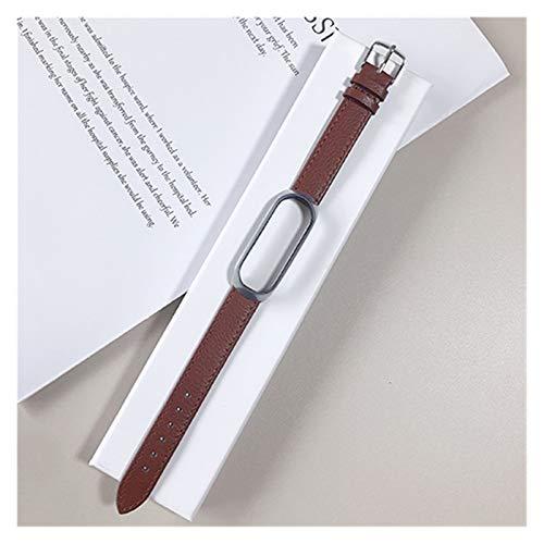 Home CNLXDSB Pulsera de Cuero for Xiaomi MI Band 3/4/5 Elegante Correa Reloj muñeca Correa for Xiaomi MI Banda 3 4 Pulsera MIBAND 5 4 3 Strap (Color : Dark Brown, Size : For miband5)
