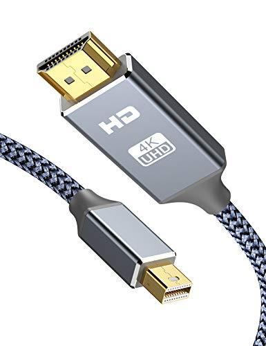 Snowkids 4K Mini DisplayPort auf HDMI Kabel, 1.8m 4K@30Hz Thunderbolt Auf Hdmi Kabel High Speed UHD Mini DP zu HDMI Kabel Kompatibel für MacBook/Air/Pro/Surface Pro/Dock