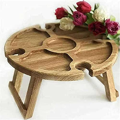 AIKJ Mesa de vino portátil, mesa de picnic plegable de madera al aire libre con soporte para copas de vino, mesa de picnic pequeña 2 en 1 para jardín, viajes al aire libre