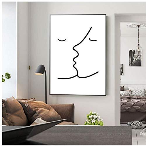 A&D Kuss Picasso Einfache Linie Leinwand Malerei Schwarz Weiß Abstraktes Wandbild Minimalistischer Kunstdruck Moderne Wandbilder Dekor-50x70cm Kein Rahmen